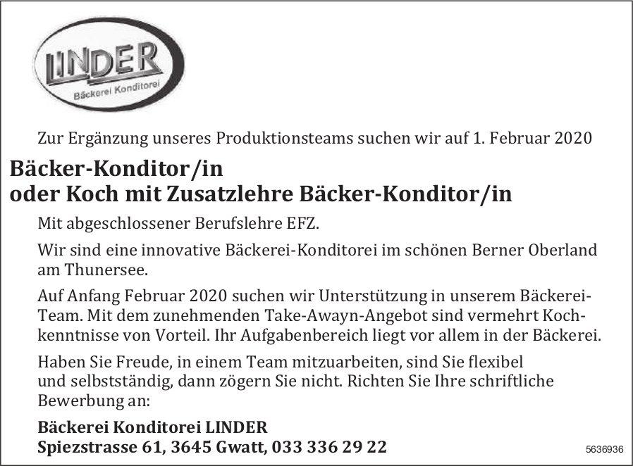 Bäcker-Konditor/in oder Koch mit Zusatzlehre Bäcker-Konditor/in, Bäckerei Konditorei LINDER, Gwatt
