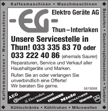 Elektro Geräte AG - Unsere Servicestelle in Thun!