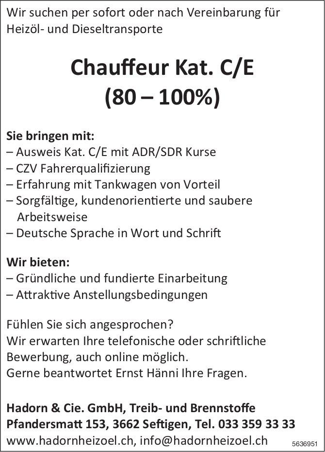 Chauffeur Kat. C/E (80 – 100%), Hadorn & Cie. GmbH, Treib- und Brennstoffe, Seftigen, gesucht