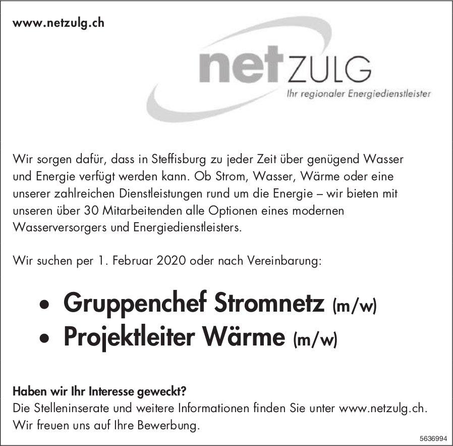 Gruppenchef Stromnetz (m/w) & Projektleiter Wärme (m/w), Net Zulg, Steffisburg, gesucht