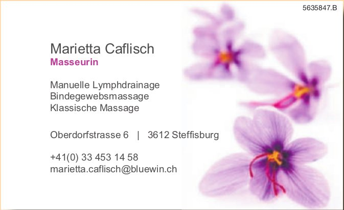Marietta Caflisch Masseurin - Manuelle Lymphdrainage, Bindegewebsmassage, Klassische Massage