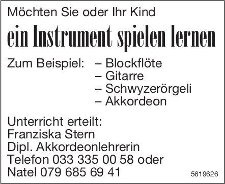 Möchten Sie oder Ihr Kind ein Instrument spielen lernen