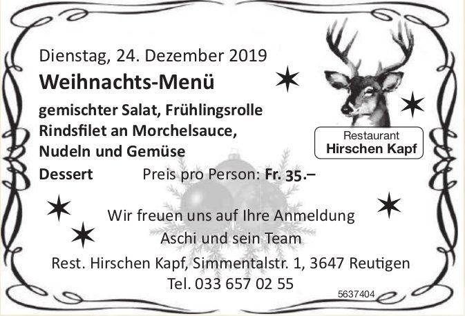 Restaurant Hirschen Kapf - Weihnachts-Menü