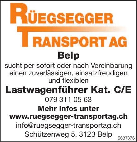 Lastwagenführer Kat. C/E, RÜEGSEGGER TRANSPORT AG, Belp, gesucht