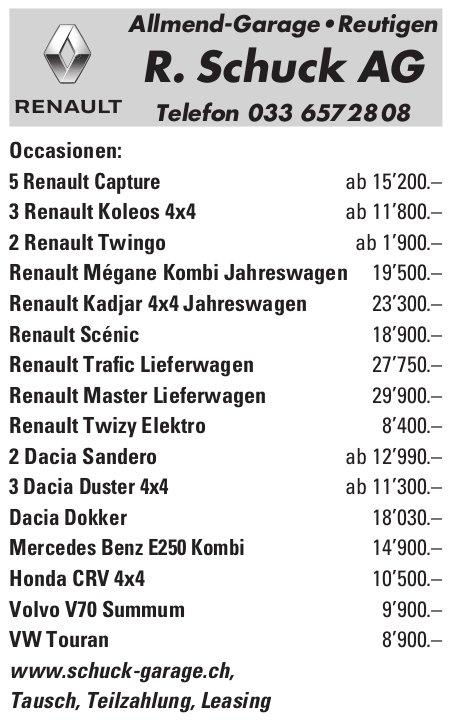 R. Schuck AG, Allmend-Garage, Reutigen - Occasionenmarkt