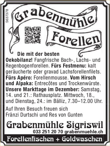 Grabenmühle Sigriswil - Unsere Markttage im Dezember