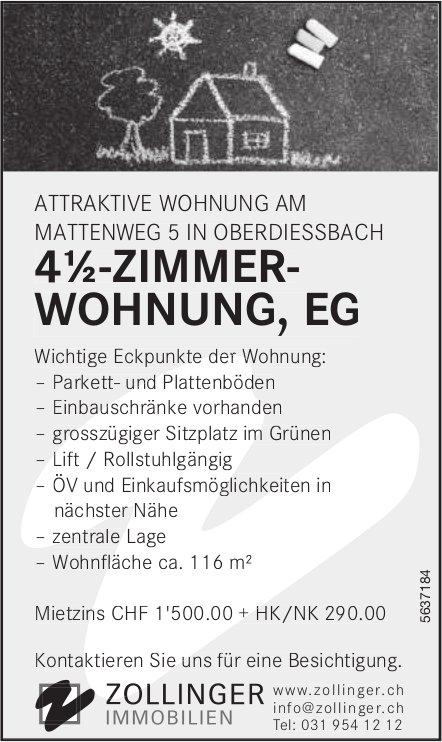 4½-ZIMMER- WOHNUNG, EG IN OBERDIESSBACH ZU VERMIETEN