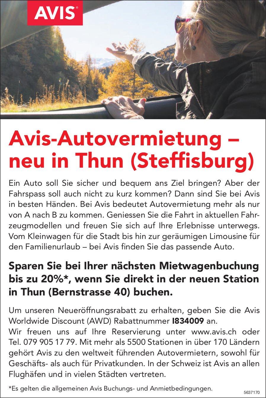 Avis-Autovermietung – neu in Thun (Steffisburg)
