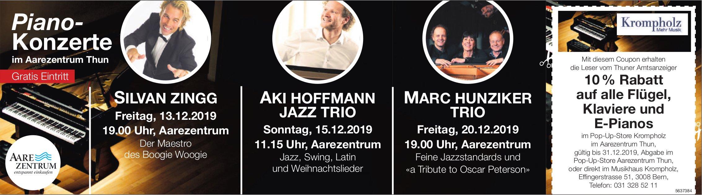 Piano-Konzerte, 13./15. + 20. Dezember im Aarezentrum Thun