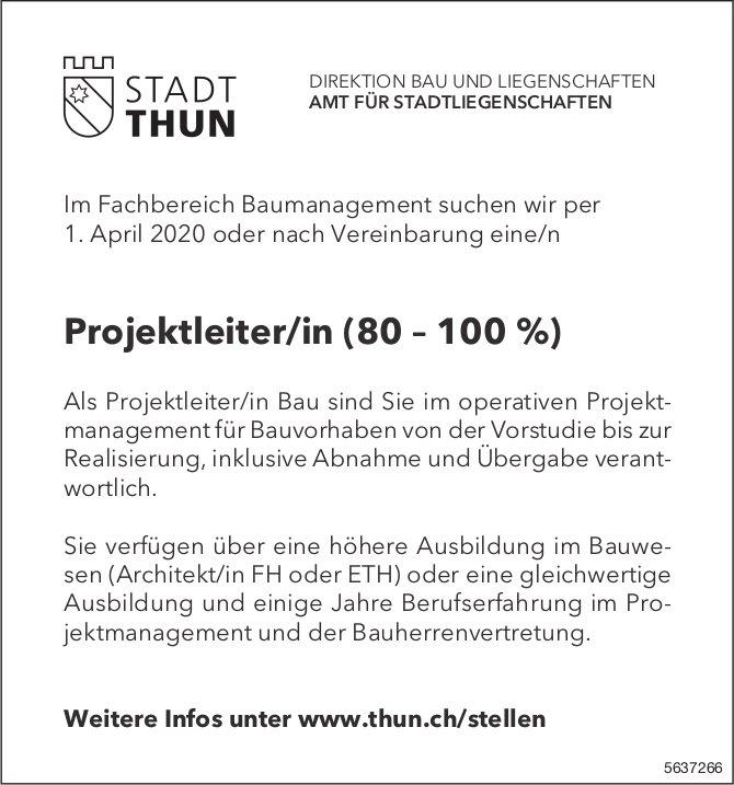 Projektleiter/in (80 – 100%), STADT THUN, gesucht