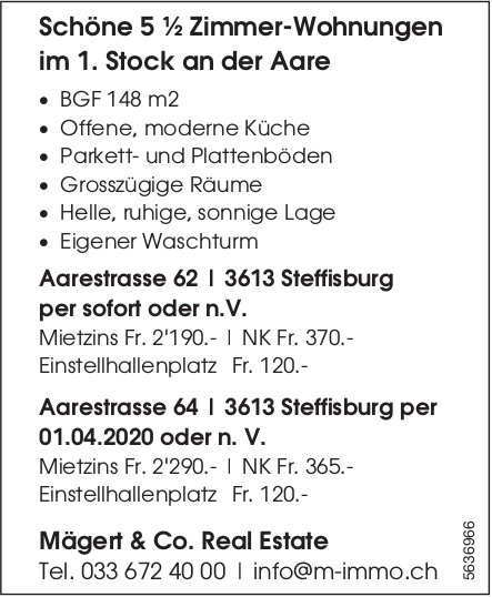 Schöne 5 ½ Zimmer-Wohnungen in Steffisburg zu vermieten