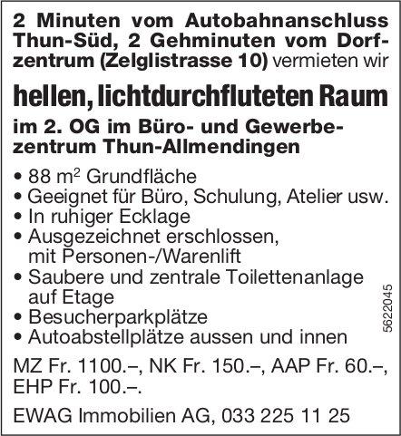 hellen, lichtdurchfluteten Raum im 2. OG im Büro- und Gewerbezentrum Thun-Allmendingen zu vermieten