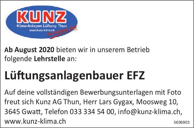 Lüftungsanlagenbauer EFZ, Kunz AG Thun, Gwatt, gesucht