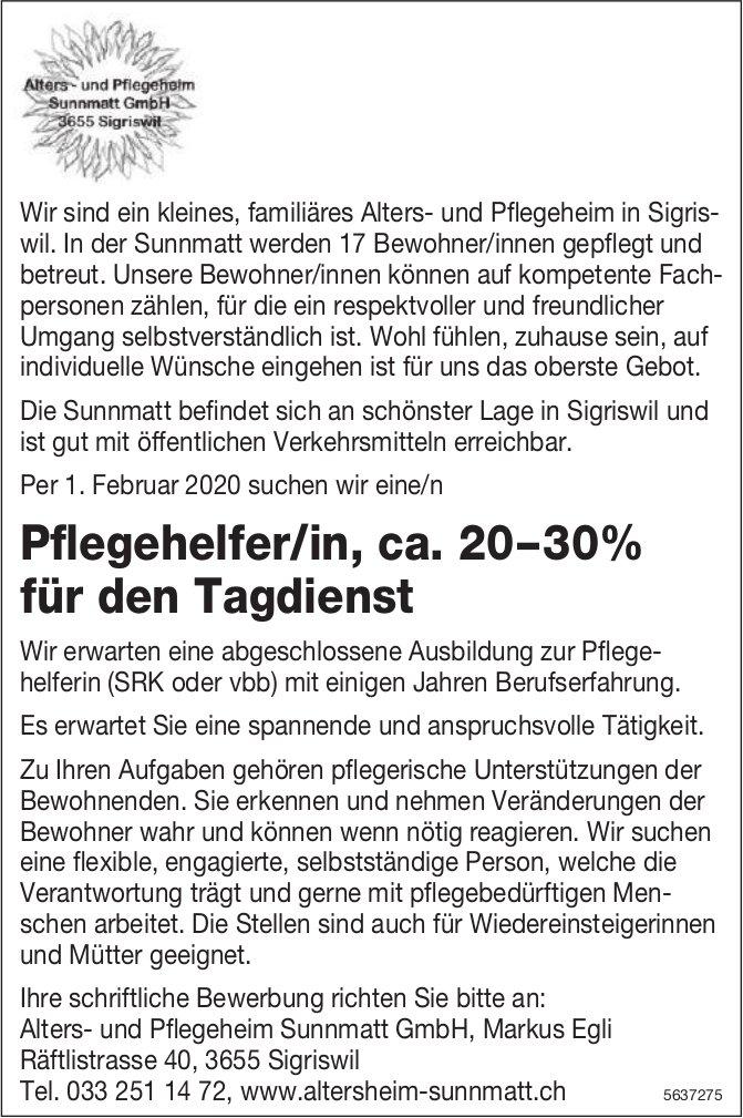 Pflegehelfer/in, ca. 20–30% für den Tagdienst, Alters- & Pflegeheim Sunnmatt GmbH, Sigriswil, gesucht
