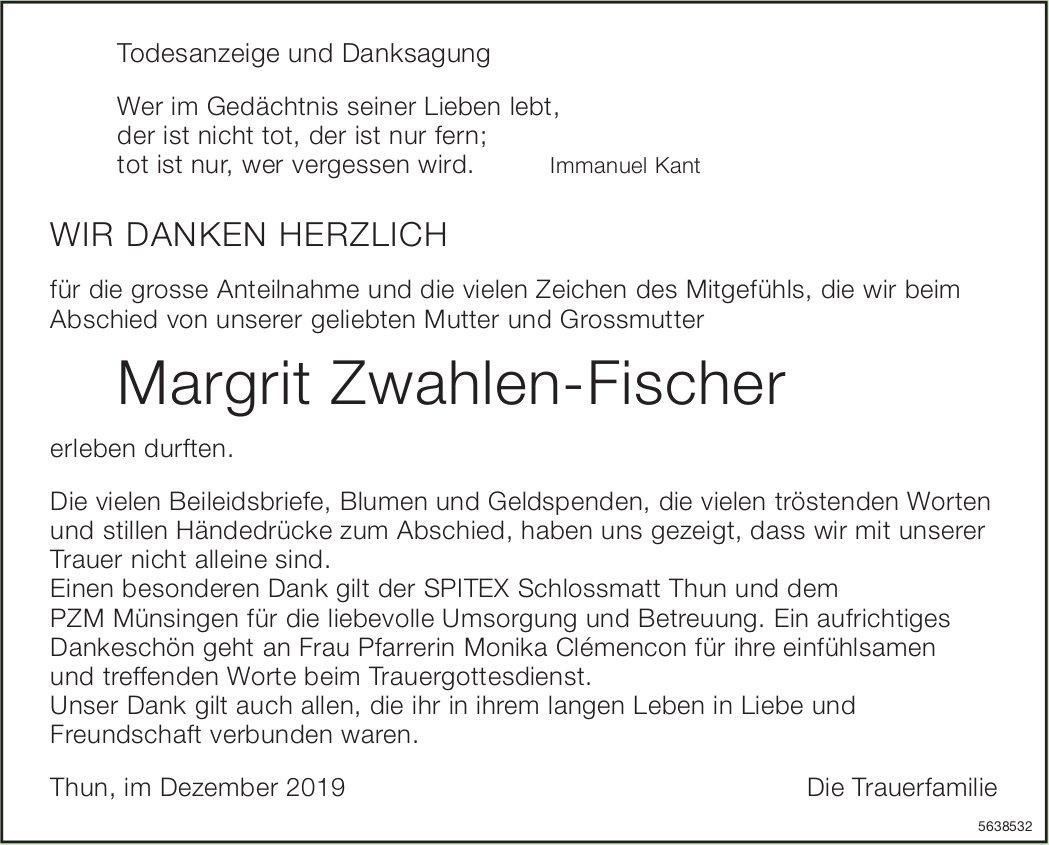 Zwahlen-Fischer Margrit, im Dezember 2019 / TA/DS