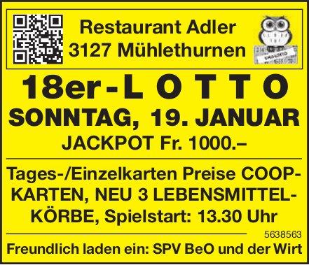 18er - LOTTO - Restaurant Adler, 19. Januar