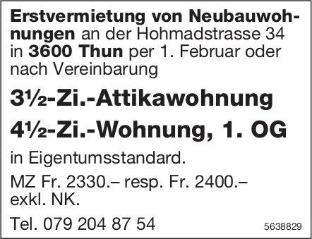 3½-Zi.-Attikawohnung & 4½-Zi.-Wohnung, 1. OG in Thun zu vermieten