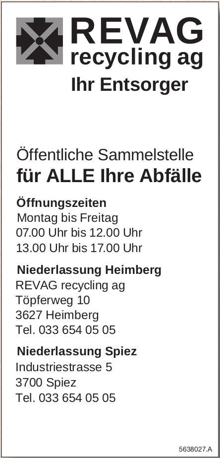 REVAG recycling ag - Öffentliche Sammelstelle für ALLE Ihre Abfälle