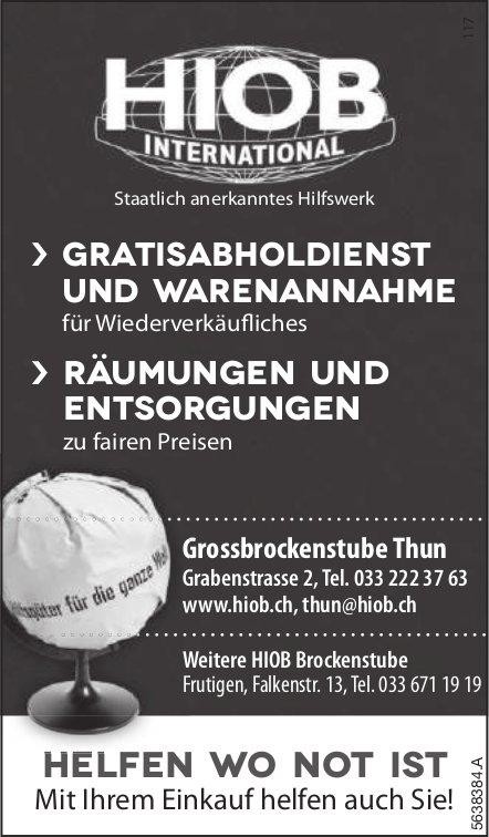 HIOB INTERNATIONAL, Thun -  Gratisabholdienst und Warenannahme