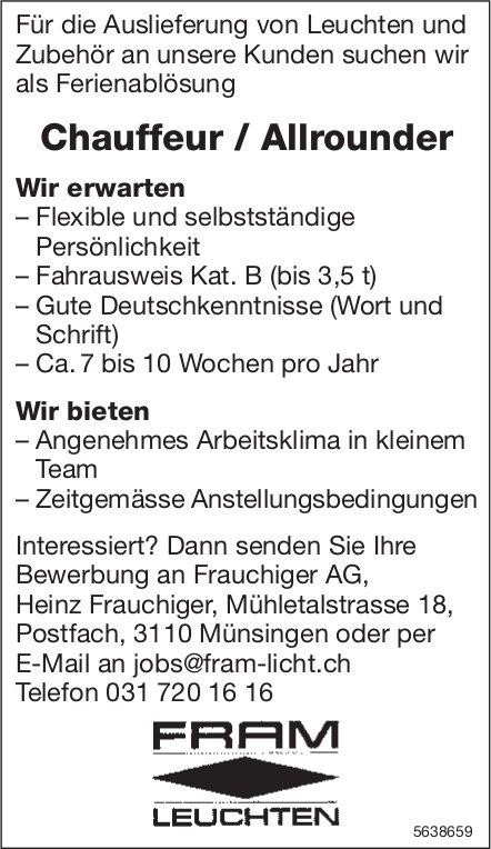 Chauffeur / Allrounder, Frauchiger AG,  Münsingen, Gesucht