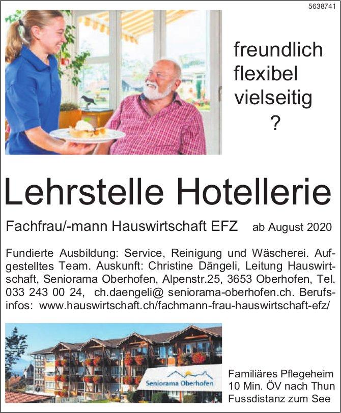 Lehrstelle Hotellerie,  Fachfrau/-mann Hauswirtschaft EFZ, Seniorama Oberhofen, zu vergeben