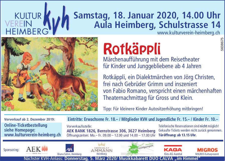 Märchenaufführung, 18. Januar, KULTUR VEREIN HEIMBERG