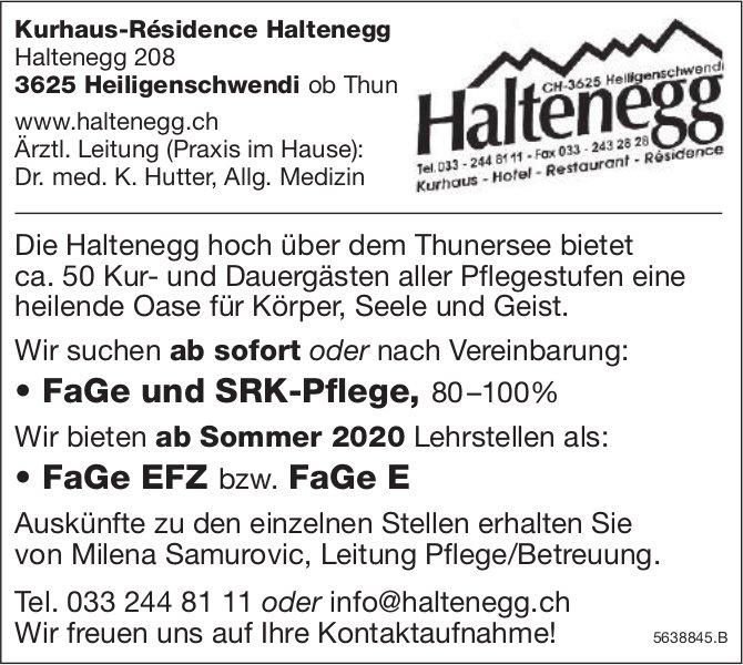 FaGe und SRK-Pflege & FaGe EFZ bzw. FaGe E, Kurhaus-Résidence Haltenegg,  Heiligenschwendi, Gesucht