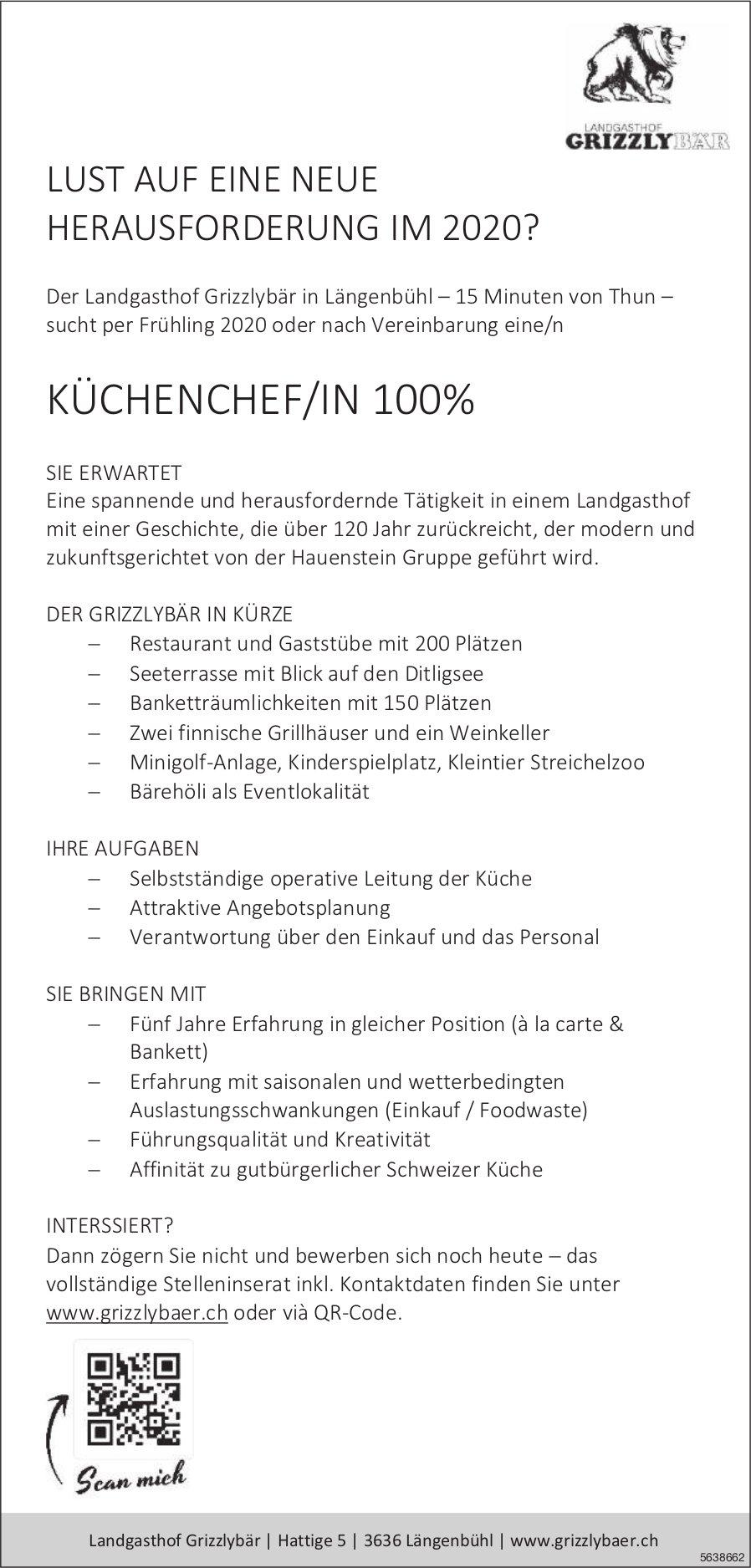 KÜCHENCHEF/IN 100%, Landgasthof Grizzlybär,  Längenbühl, Gesucht