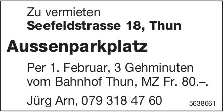 Aussenparkplatz in Thun zu vermieten