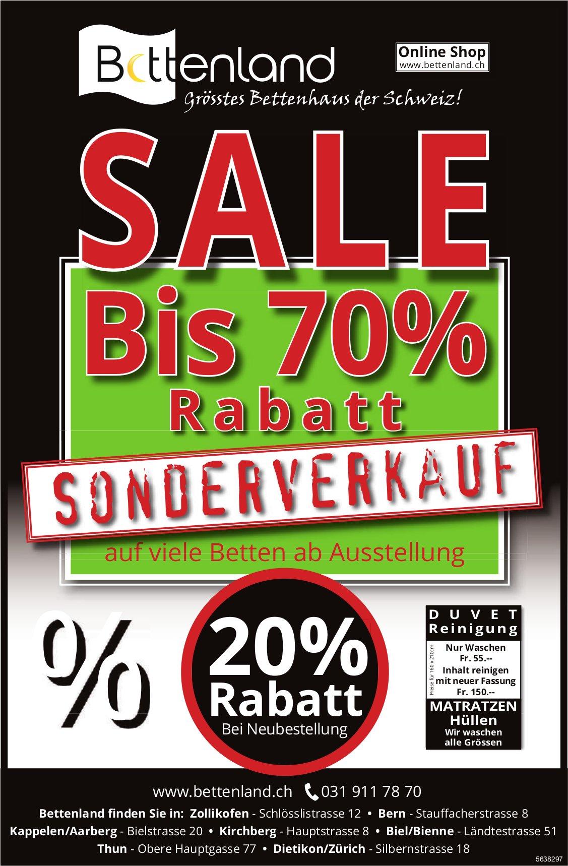 Bettenland - Sale/Sonderverkauf bis 70% Rabatt