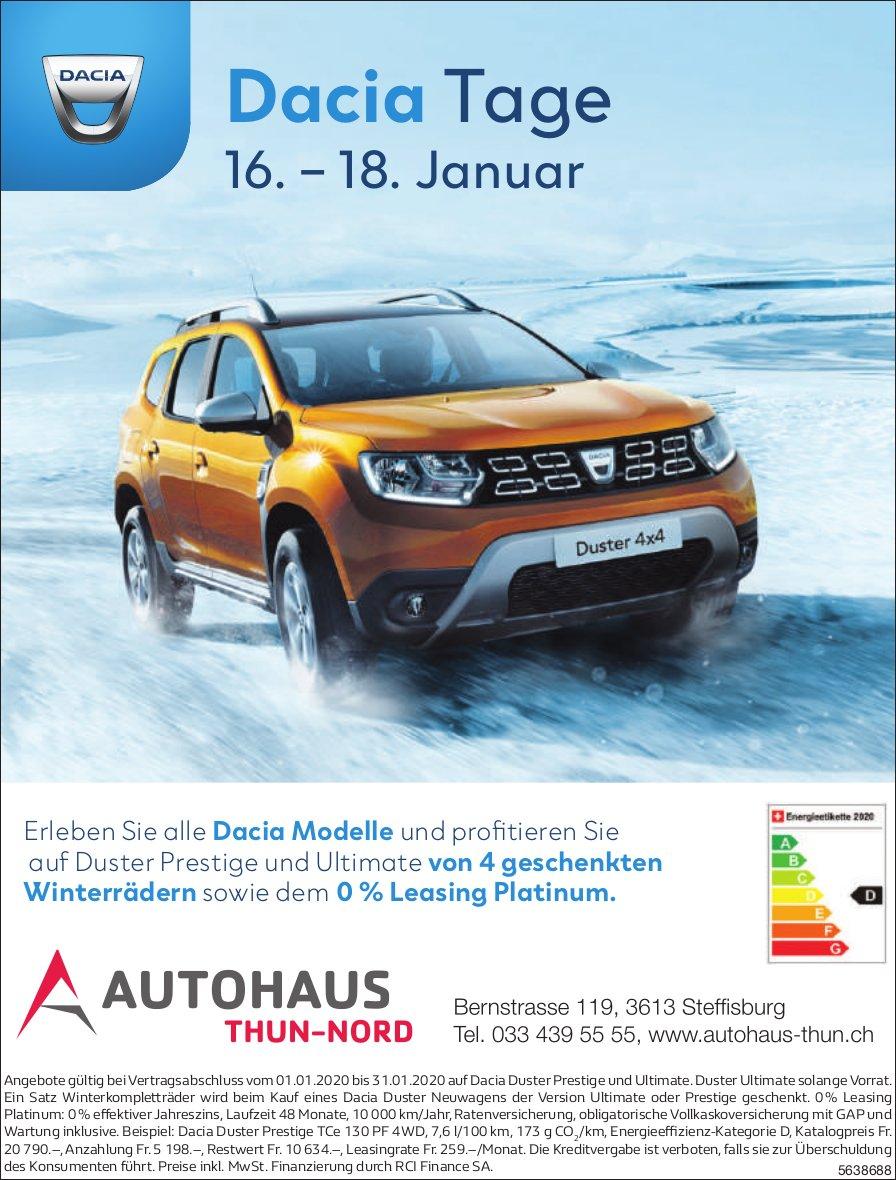 Dacia Tage, 16. - 18. Januar, AUTOHAUS THUN-NORD