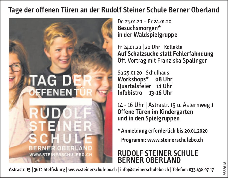 Tage der offenen Türen an der Rudolf Steiner Schule Berner Oberland, 23./24.25. Januar