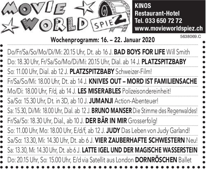 Movie World Spiez - Wochenprogramm