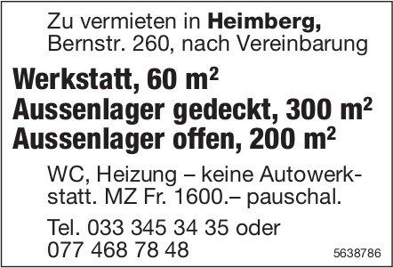 Werkstatt, 60 m2 Aussenlager gedeckt, 300 m2 Aussenlager offen, 200 m2 in Heimberg zu vermieten