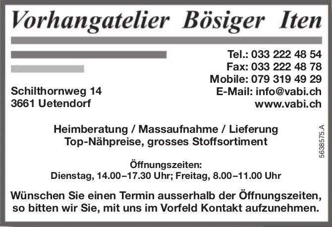 Vorhangatelier Bösiger Iten - Heimberatung / Massaufnahme / Lieferung