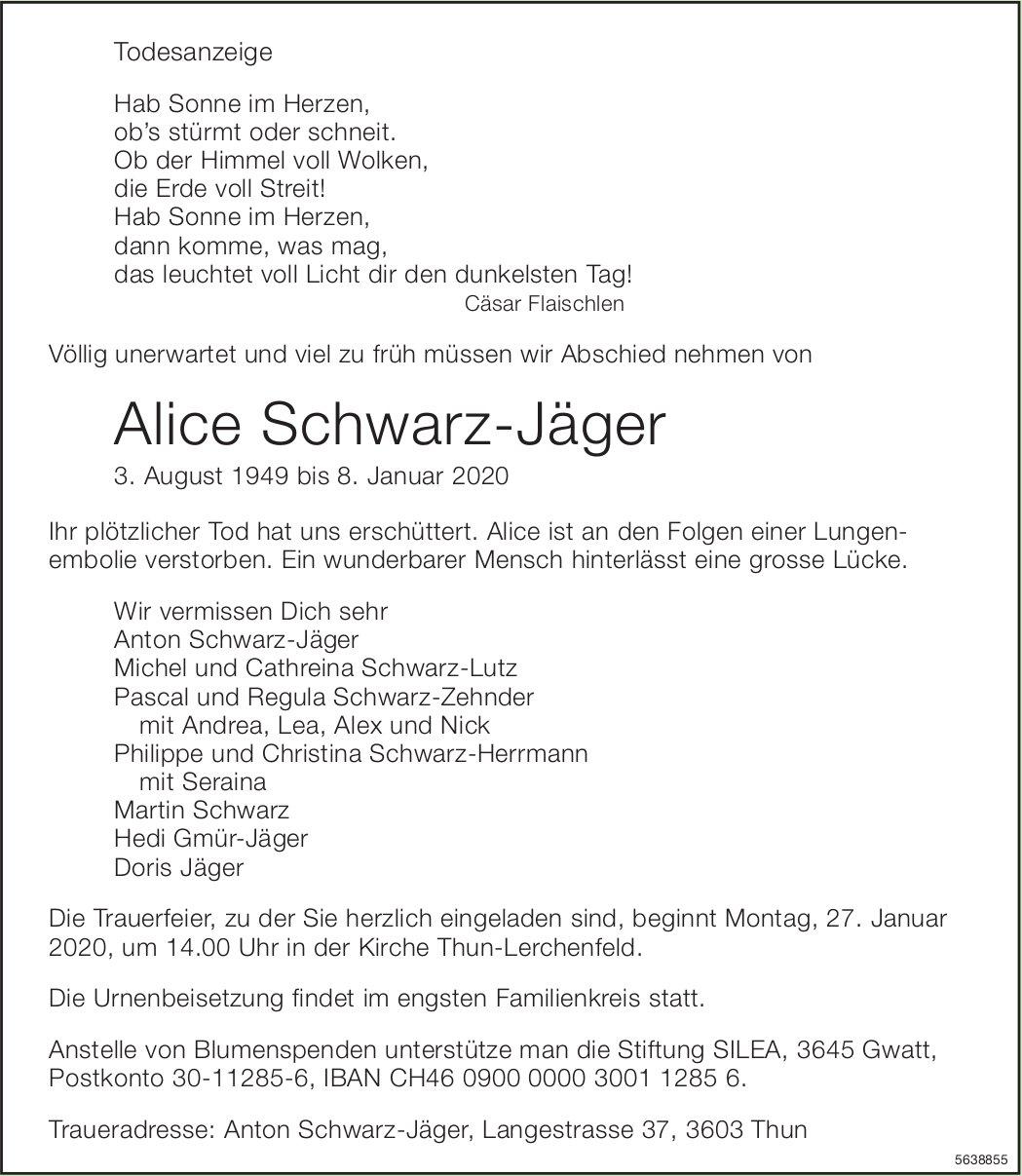 Schwarz-Jäger Alice, Januar 2020 / TA