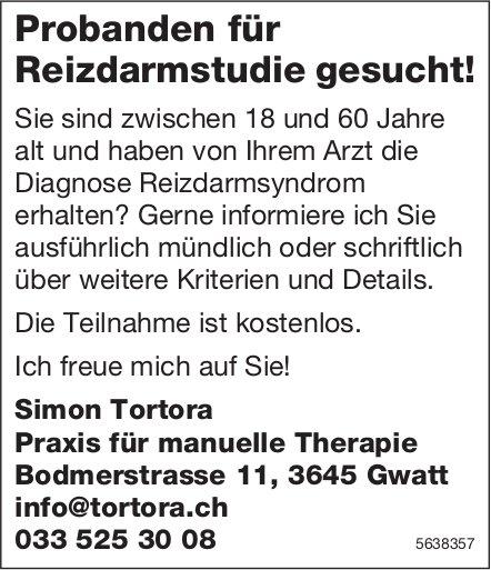 Simon Tortora, Praxis für manuelle Therapie, Gwatt - Probanden für Reizdarmstudie gesucht!
