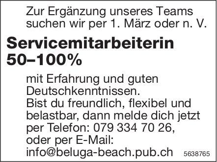 Servicemitarbeiterin 50–100%, Beluga Beach Pub, Gesucht