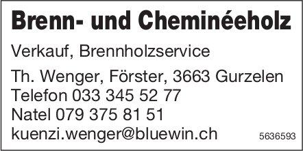Brenn- und Cheminéeholz, Verkauf, Brennholzservice - Th. Wenger, Förster
