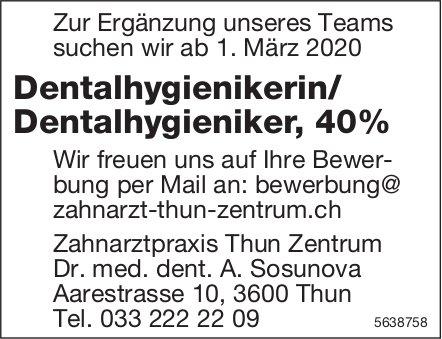 Dentalhygienikerin / Dentalhygieniker,  40%, Zahnarztpraxis Thun Zentrum, Gesucht