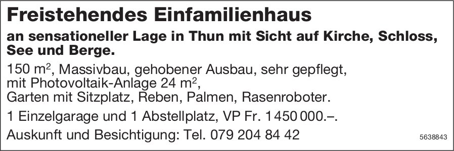 Freistehendes Einfamilienhaus in Thun zu verkaufen