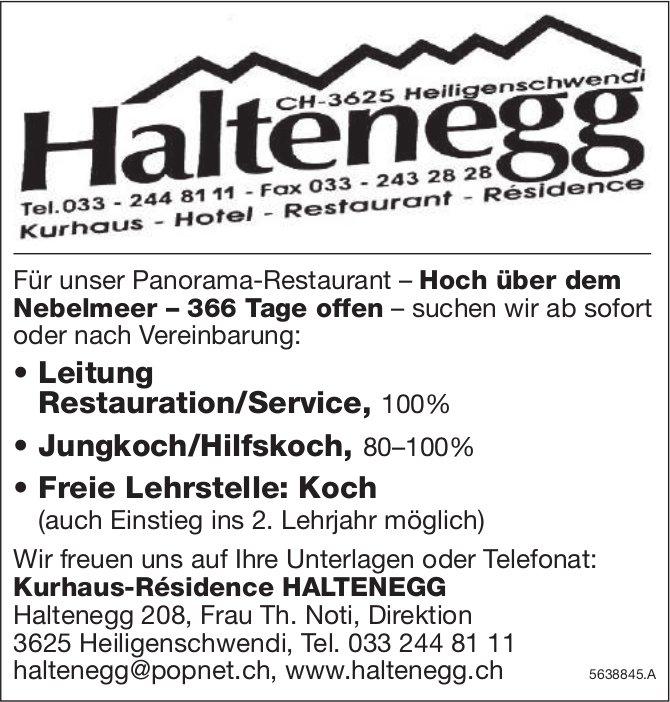 Leitung Restauration/Service & Jungkoch/Hilfskoch, Kurhaus-Résidence HALTENEGG,  Heiligenschwendi