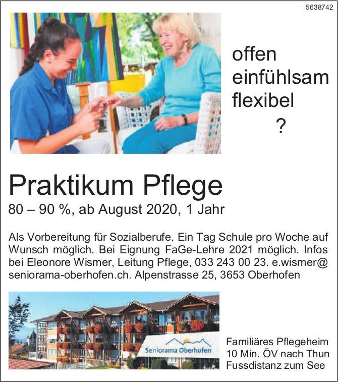 Praktikum Pflege 80 – 90 %, ab August 2020, 1 Jahr bei Seniorama Oberhofen zu besetzen
