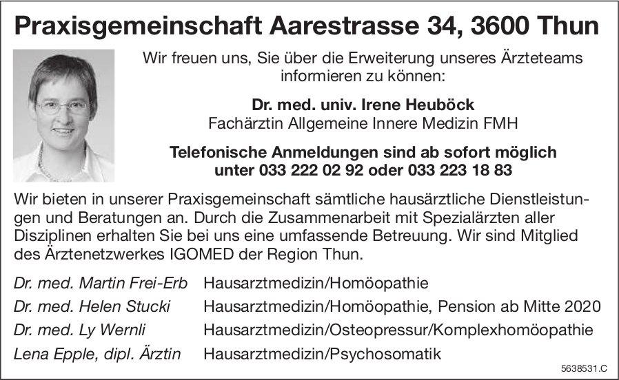 Praxisgemeinschaft Aarestrasse 34, Thun, Erweiterung unseres Ärzteteams