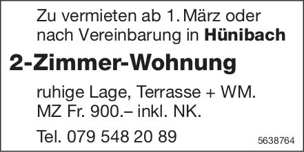 2 Zimmer-Wohnung in Hünibach zu vermieten
