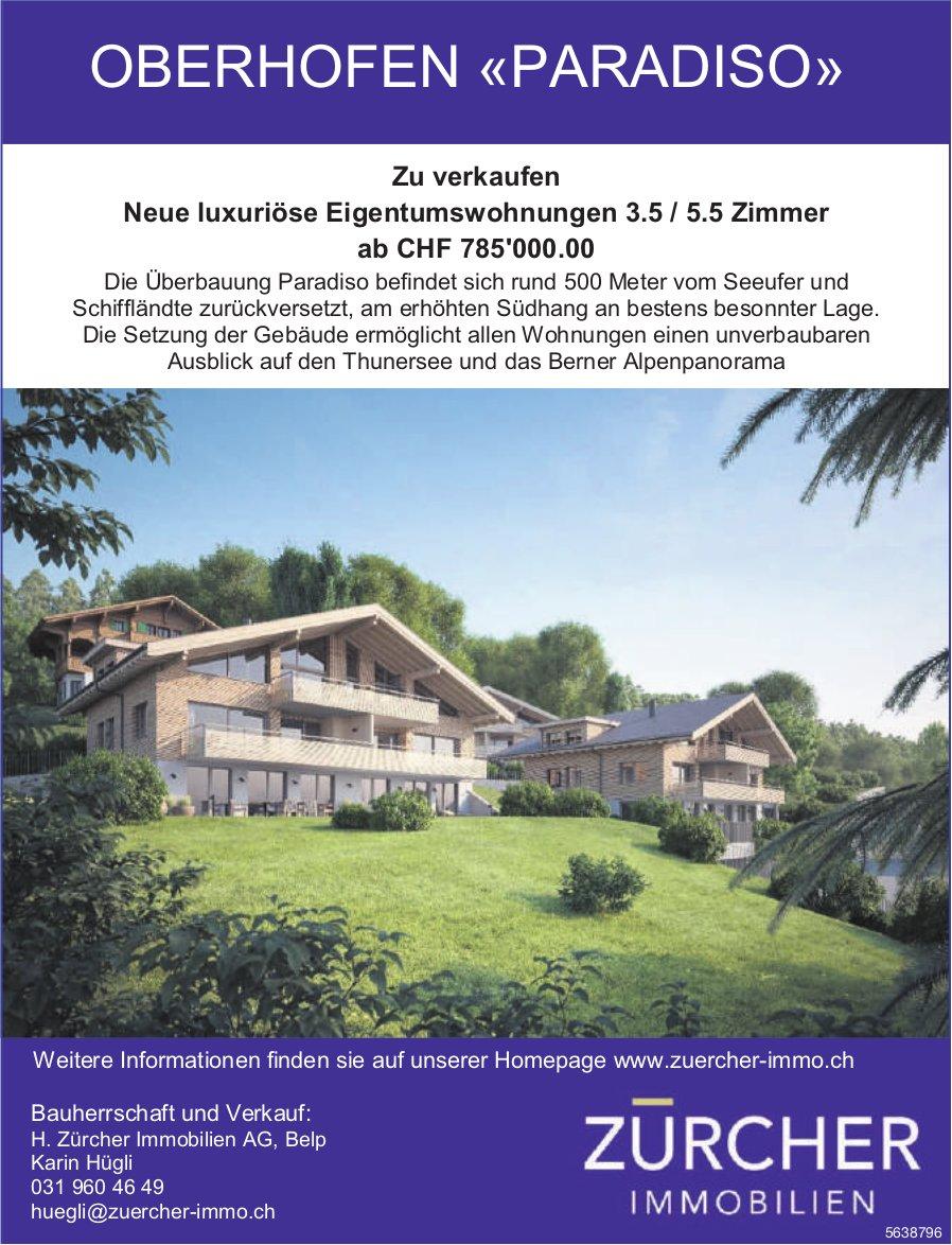 Neue luxuriöse Eigentumswohnungen 3.5 / 5.5 Zimmer in Oberhofen zu verkaufen