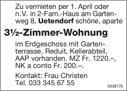 3.5 Zimmer-Wohnung in Uetendorf zu vermieten