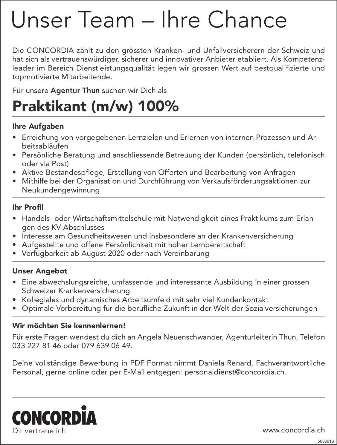 Praktikant (m/w) 100%, CONCORDIA, Thun, Gesucht