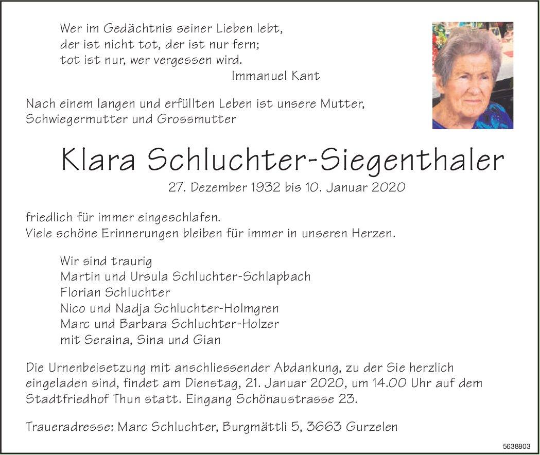 Schluchter-Siegenthaler Klara, Januar 2020 /TA