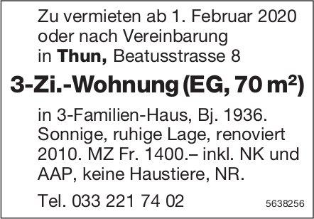 3-Zi.-Wohnung (EG, 70 m2) in Thun zu vermieten